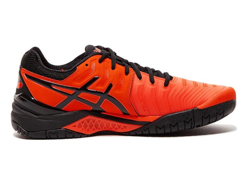 separation shoes f3d6c aabcb Asics Gel Resolution 7 Cherry Tomato Red Black Men s Tennis Shoes