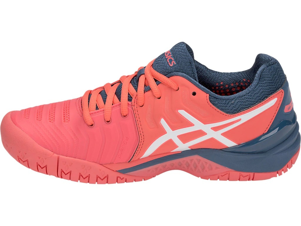 7450b52df0f6 ... Asics Women s Gel Resolution 7 Papaya Pink Blue White Tennis Shoes ...