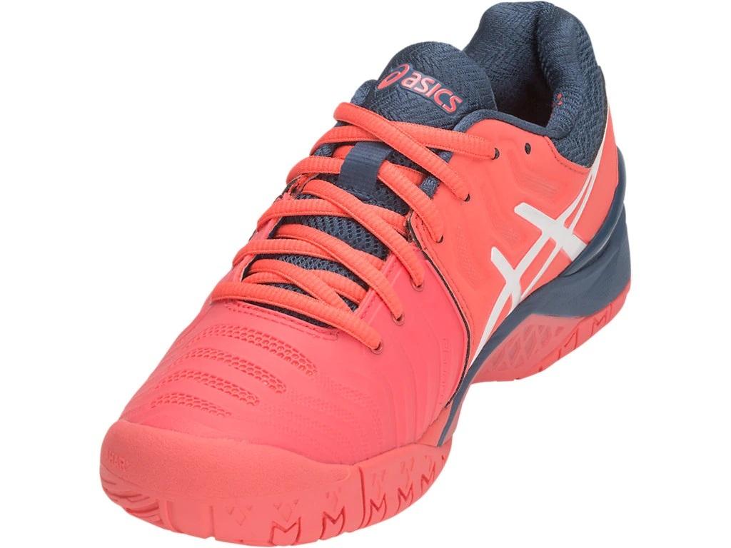 Women's Gel Resolution 7 Papaya PinkBlueWhite Tennis Shoes