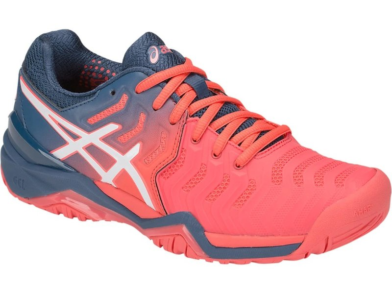 Asics Women's Gel Resolution 7 Papaya Pink/Blue/White Tennis Shoes