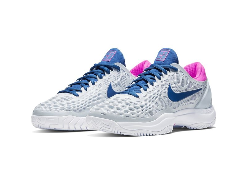 Nike Women's Zoom Cage 3 Half Blue/Grey/Pink Tennis Shoes