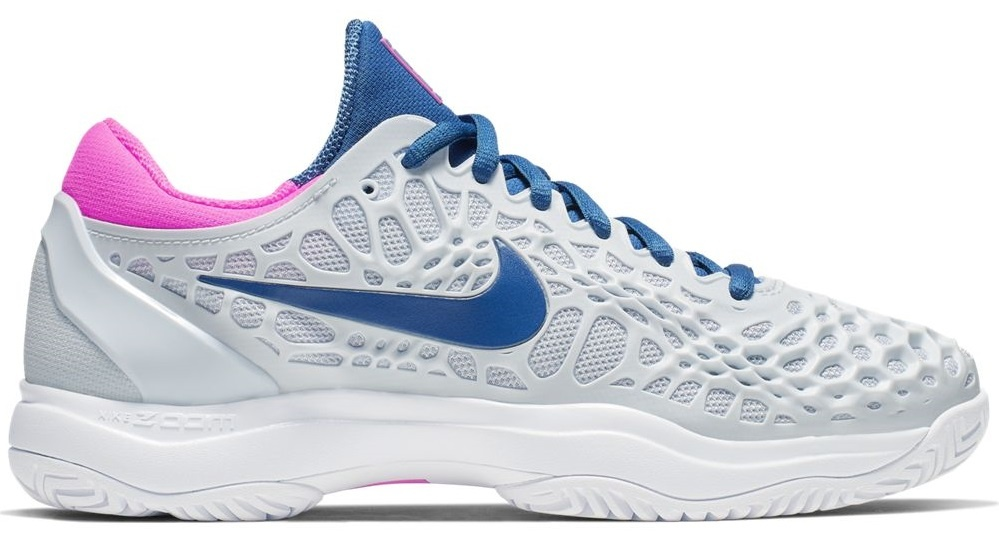 size 40 a31e5 767fc Nike Women s Zoom Cage 3 Half Blue Grey Pink Tennis Shoes