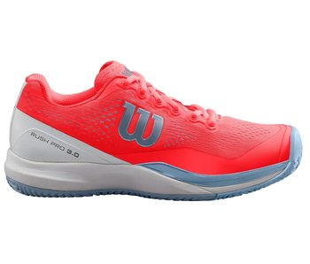 Wilson Women's Rush Pro 3.0 Fiery Coral/White/Grey Tennis Shoes
