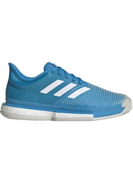 Adidas Men's SoleCourt Boost Clay Shock Cyan Blue/ White Tennis Shoes