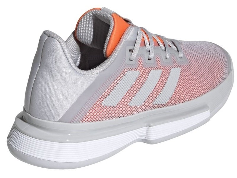 Adidas Women's SoleMatch Bounce Tennis Shoes Light Grey/ Hi-Res Coral