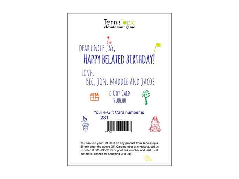 TennisTopia Gift Card  $150