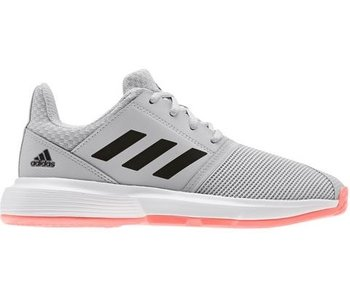 Adidas CourtJam xJ Grey/Coral Junior Tennis Shoes