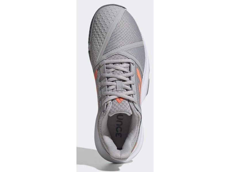 Adidas Women's CourtJam Bounce Tennis Shoes Grey/Coral