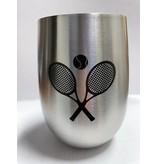 Stainless Steel Stemless Wine Glass Racquet W Ball