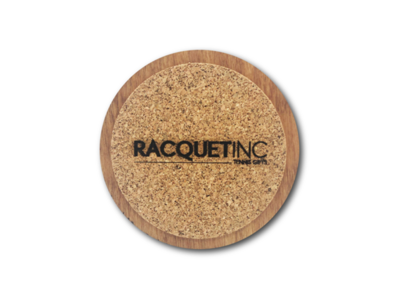 Racquet Inc Premium Wood Drink Coasters (6 Pack) Tennis