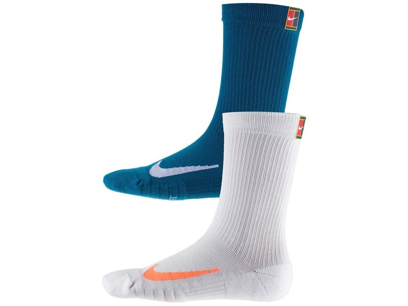Nike Multiplier Cushioned Max Crew White/Turquoise LG (2 Pair)