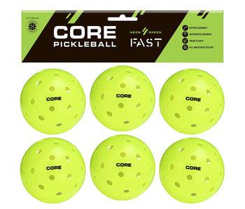 CORE Outdoor Pickleball Neon Green 6 Balls