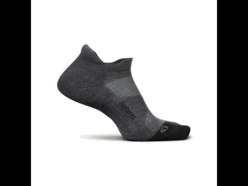 Feetures Elite Max Cushion No-Show Tab Socks Grey L