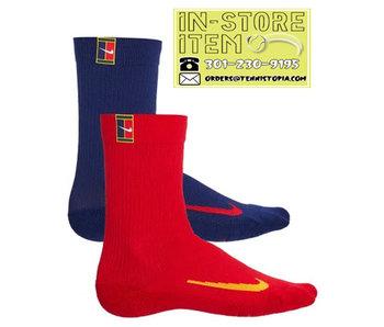 Nike Court Multiplier Max Tennis Crew Socks (2 Pairs) Red-Blue L