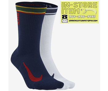 Nike Court Multiplier Max Tennis Crew Socks (2 Pairs) Multi-Color L