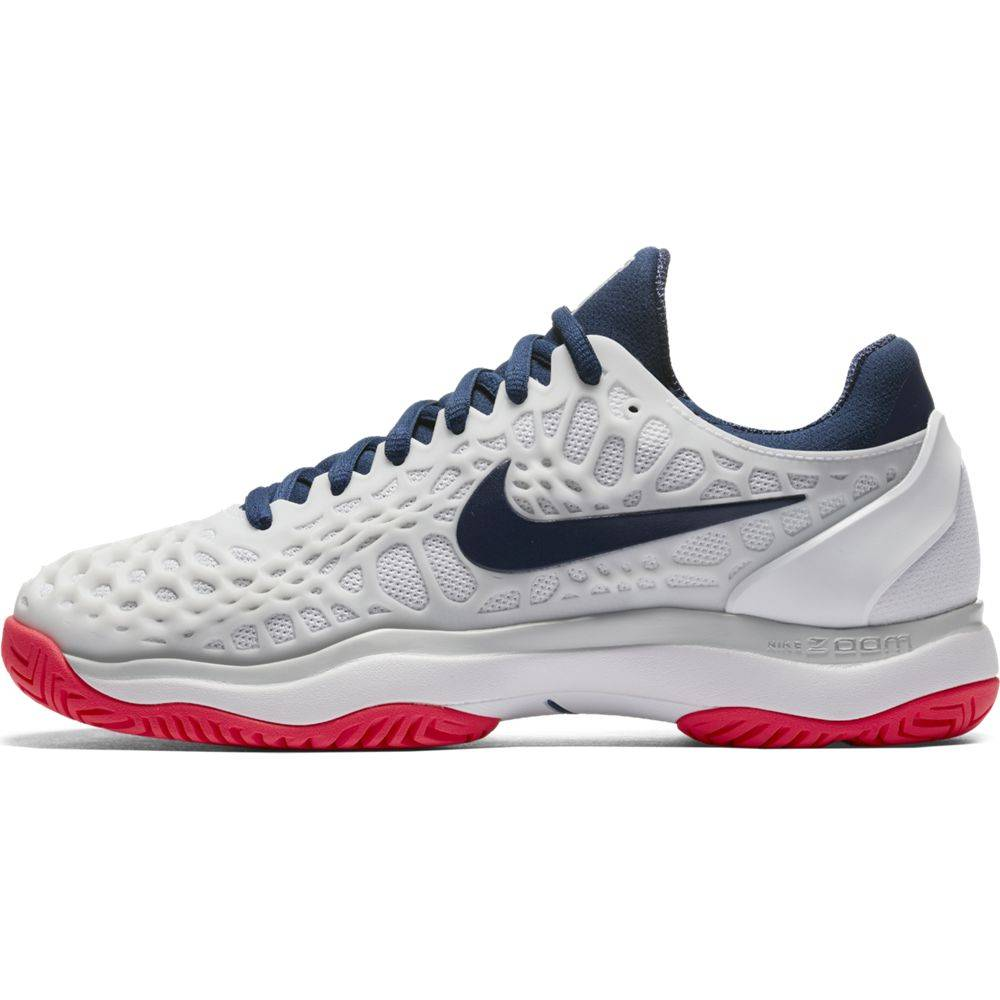 6d5a5ce5fd7853 Nike Zoom Cage 3 HC White Navy Red Women s Shoe - Tennis Topia ...