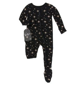 Kickee Pants Holiday Classic Ruffle Footie with Zipper: Rose Gold Bright Stars