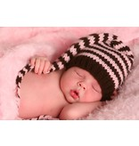 The Daisy Baby Pink and Brown Pom Hat 0-6 Month