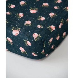 Little Unicorn Cotton Muslin Crib Sheet - Midnight Rose