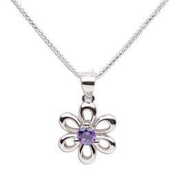 Cherished Moments Sterling Silver Birthstone Necklace with Daisy
