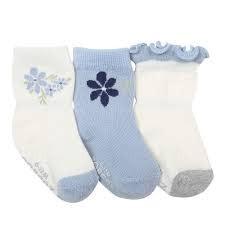 Robeez 3pk Socks - Pretty in Blue - Cream/Light Blue