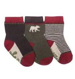 Robeez 3pk Socks - Forest Dweller - Red/Brown