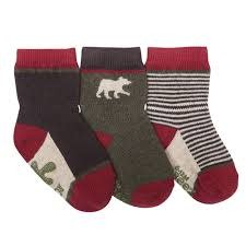 Robeez 3pk Socks - Forest Dweller - Red/Brown