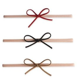 Baby Bling Bows 3pk Suede Cord Bow - red, black, tan