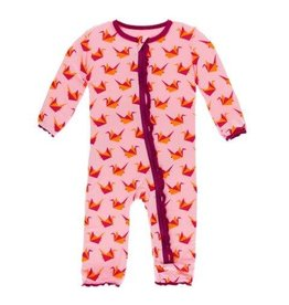 Kickee Pants Print Muffin Ruffle Coverall with Zipper Lotus Origami Crane