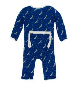 Kickee Pants Print Muffin Ruffle Coverall with Zipper Navy Dragonfly