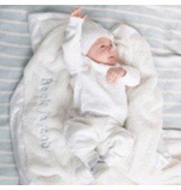 """Saranoni Receiving Blanket (30"""" x 40"""") White Lush Satin Border"""