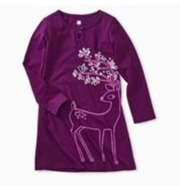 Tea Collection Dainty Doe Graphic Dress - Cosmic Berry