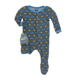 Kickee Pants Kickee Pants Footie with Snaps: Stone Tractor