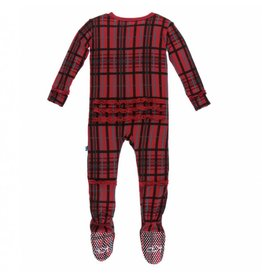 Kickee Pants Holiday Ruffle Footie with Zipper: Christmas Plaid