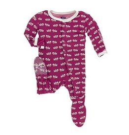Kickee Pants Kickee Pants Footie with zipper: Berry Cow 18-24M