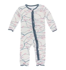 Kickee Pants Print Muffin Ruffle Coverall with Zipper Natural Japanese Cherry Tree/ Dusty Sky Trim