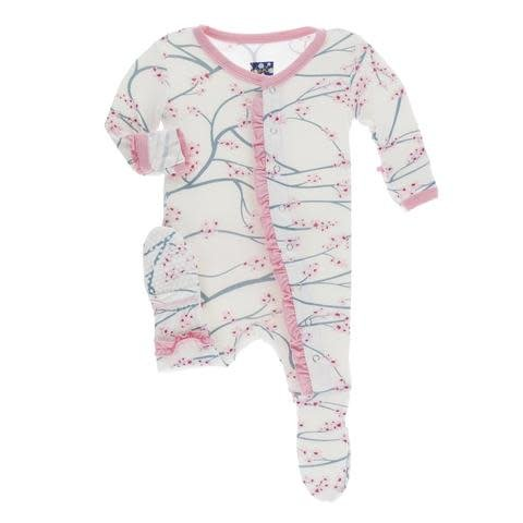Kickee Pants Print Layette Classic Ruffle Footie with Snaps Natural Japanese Cherry Tree with Lotus Trim NB