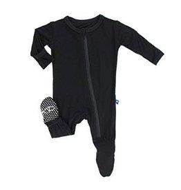 Kickee Pants Basic Footie with Zipper Midnight - NB, Newborn