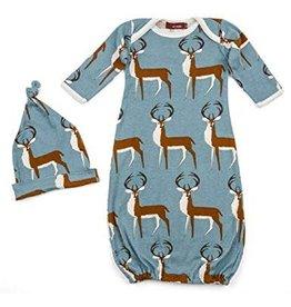 Milkbarn Kids Organic Gown and Hat 2 piece set - Blue Buck