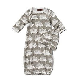 Milkbarn Kids Organic Gown and Hat - Grey Hedgehog