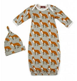 Milkbarn Kids Organic Gown and Hat - Orange Fox
