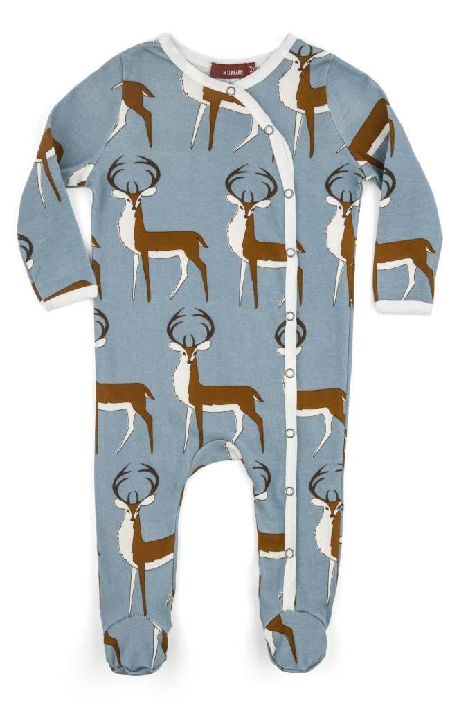 af877dfd925b Milkbarn Kids Organic Footed Romper - Blue Buck - Kicks and Giggles