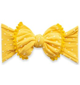 Baby Bling Bows Trimmed Patterned Shabby Knot (Mustard Dot)