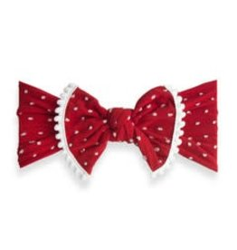 Baby Bling Bows Trimmed Patterned Shabby Knot (Cherry Dot)