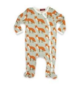 Milkbarn Kids Organic Footed Romper - Orange Fox