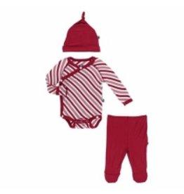 Kickee Pants Kimono Newborn Gift Set - Crimson Candy Cane Stripe Newborn