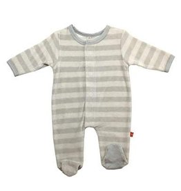 Magnetic Me Baby Blue/Gray Stripe Velour Magnetic Footie