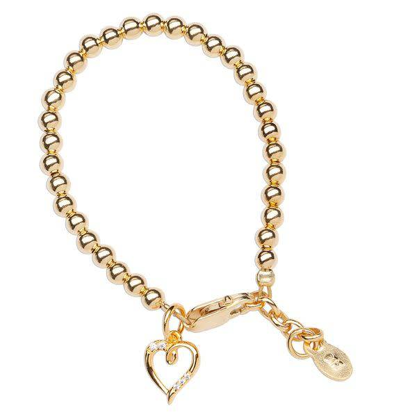 Cherished Moments Aria - S (0-12) 14K Gold Plated Bracelet with Heart