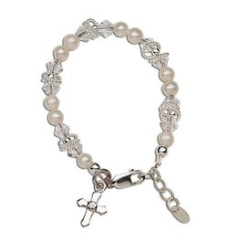 Cherished Moments Krista - S Sterling Silver Bracelet With Genuine Freshwater Pearls, Swarovski Elements Crystal, Silver Rings With A Silver Cross