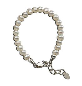 Cherished Moments Zoey - M Sterling Silver Bracelet With Genuine Soft White Freshwater Pearls